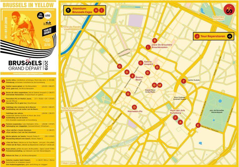 Een kaartje met daarop alle Tourgetinte bezienswaardigheden in onze hoofdstad.
