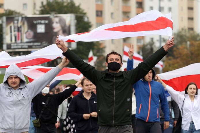 Er zijn in Minsk naar schatting 50.000 mensen op de been.