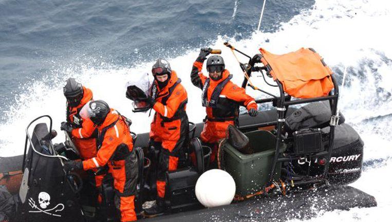 Actievoerders van de Sea Shepherd. Beeld ap