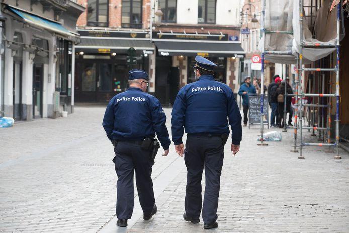 Illustration: contrôle de police rue des Bouchers à Bruxelles