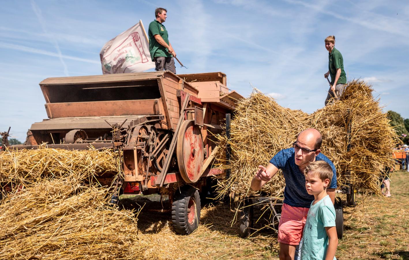 Ouderwetse oogsttechnieken waren te zien tijdens de Auwerwetse Boekelse Oogstdag.