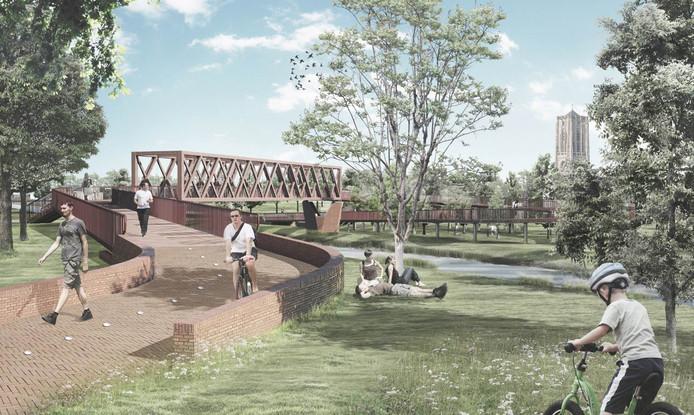 De nieuwe langzaamverkeersbrug over het Wilhelminakanaal in Oirschot, gezien vanaf de zuidzijde (Moorland).