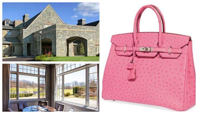Het clubhuis en restaurant van de Alpine Country Club in New Jersey. Rechts: een roze Hermès Birkin-handtas.