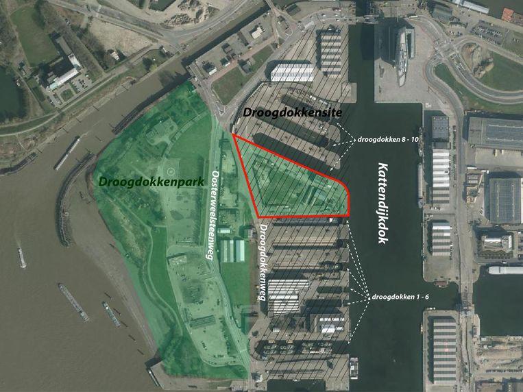 Het plangebied met de aanduiding van de locatie voor het nieuwe Havenbelevingscentrum.