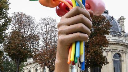 Boeket tulpballonnen voor slachtoffers Bataclan