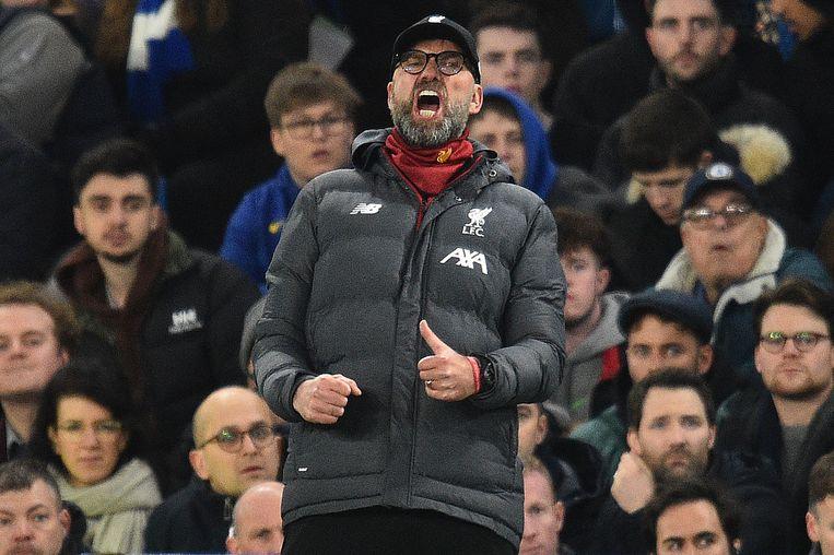Manager van Liverpool Jürgen Klopp tijdens de uitwedstrijd tegen Chelsea (2-0). Beeld AFP