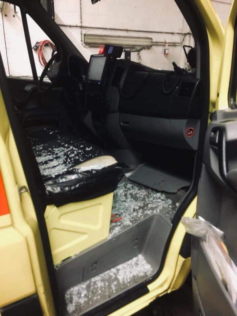 De getroffen ambulance