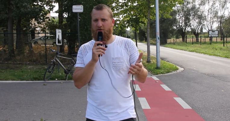Jong Open VLD'er Arne Baeyens in de Scoutsstraat.