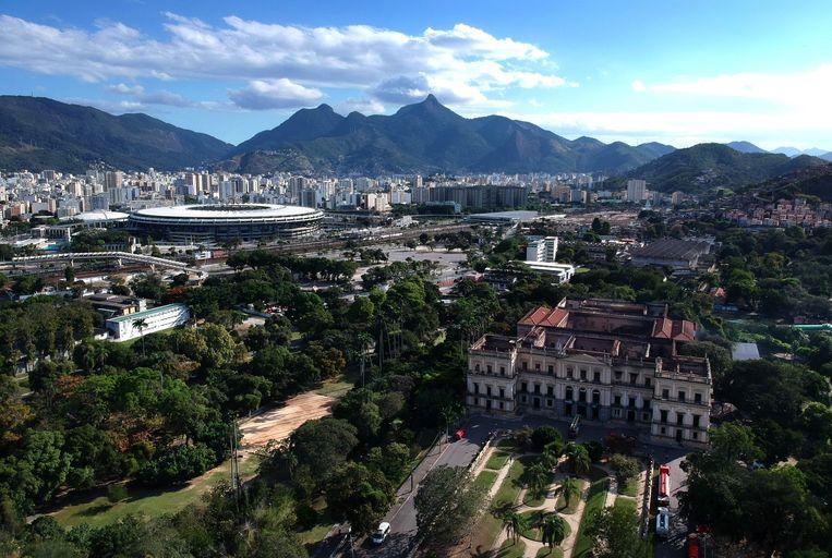 Het uitgebrande Nationale Museum van Brazilië.