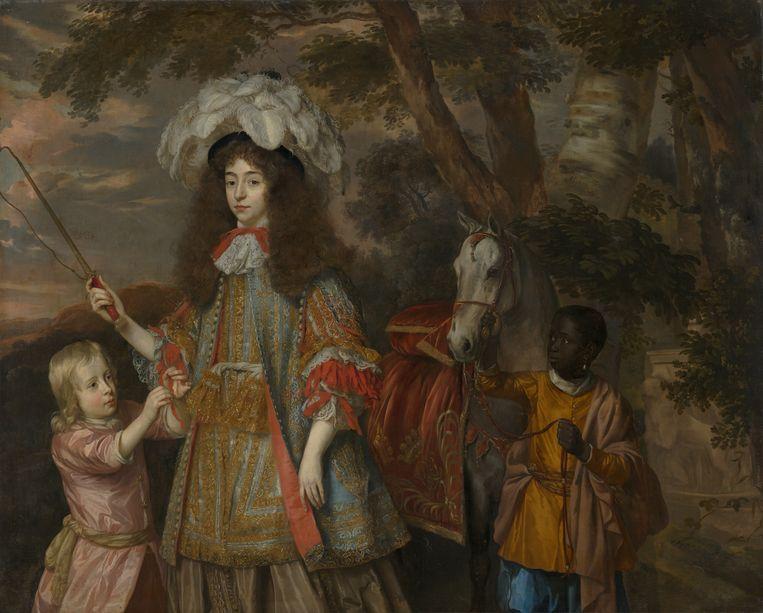 Jan Mijtens, 'Portret van Maria van Oranje, met Hendrik van Nassau-Zuylestein (overleden in 1673) en een bediende', circa 1665. Beeld Jan Mijtens / Mauritshuis