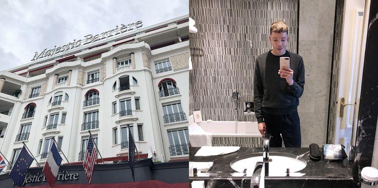 Het Hôtel Barrière Le Majestic Cannes en een selfie in de reusachtige badkamer.