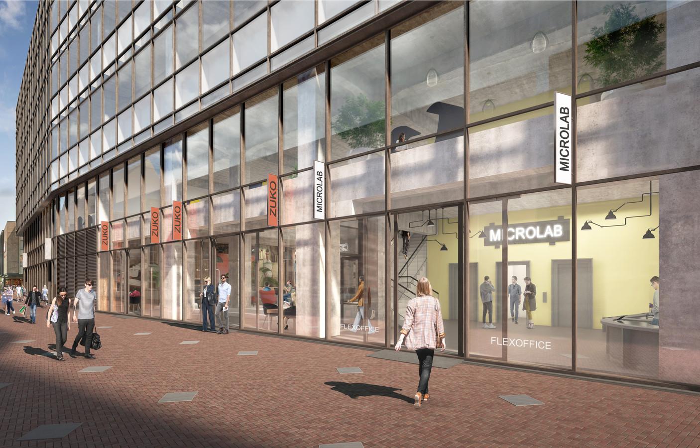 Illustratie van de nieuwe 'V&D' in Eindhoven waar plek is voor de winkels Costes en Foot Locker en flexwerkplekverhuurder Microlab.