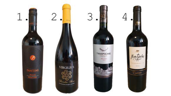 1. Fantini 2. Virgilius 3. Trapiche 4. Montinho São Miguel Reserva Tinto