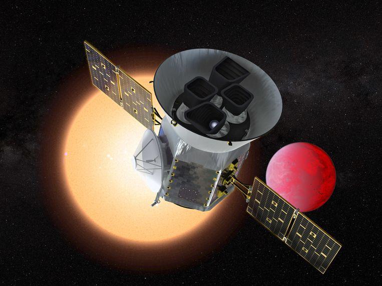 Illustratie van de Transiting Exoplanet Survey Telescope (TESS).