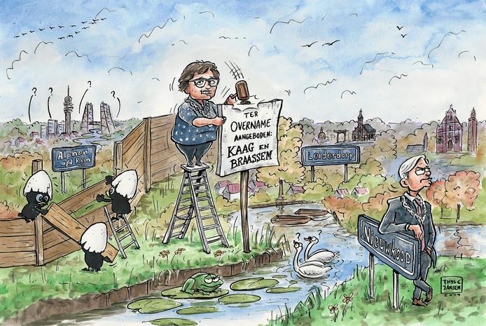 Cartoon over het ter overname aanbieden van de gemeente Kaag en Braassem.