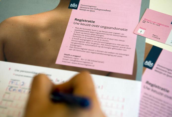 Registratieformulier voor donorregistratie van het Ministerie van Volksgezondheid, Welzijn en Sport (VWS).