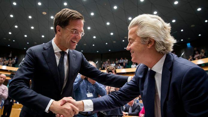 Premier Mark Rutte en PVV-fractievoorzitter Geert Wilders in de plenaire zaal tijdens de Algemene Politieke Beschouwingen in september.