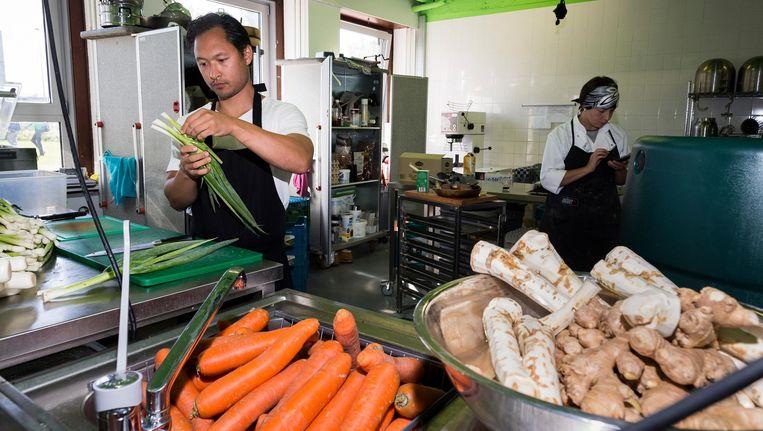 Aan het werk in de gemeenschappelijk kookruimte: 'De mensen helpen elkaar, dat is ook inspirerend' Beeld Rink Hof
