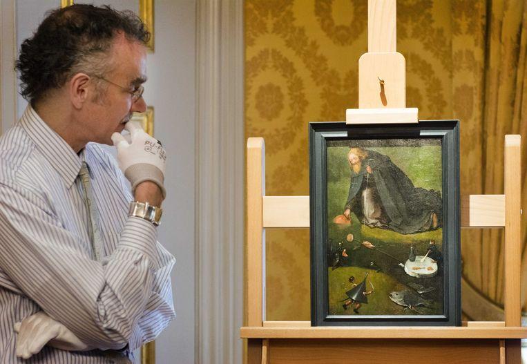 Het nieuwe schilderij van Jeroen Bosch, dat werd gevonden in Kansas, Amerika. Beeld ANP
