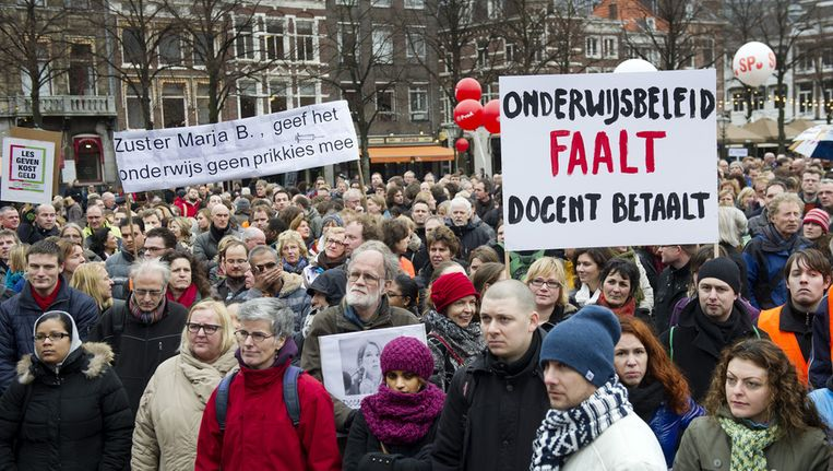 Stakende leraren in Den Haag begin januari. © ANP Beeld