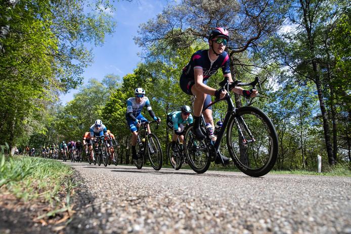 Het peloton tijdens de Ronde van Overijssel 2019 op de Holterberg.