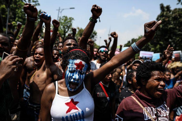 Demonstraties in de Indonesische hoofdstad Jakarta in augustus. Beeld NURPHOTO VIA GETTY IMAGES