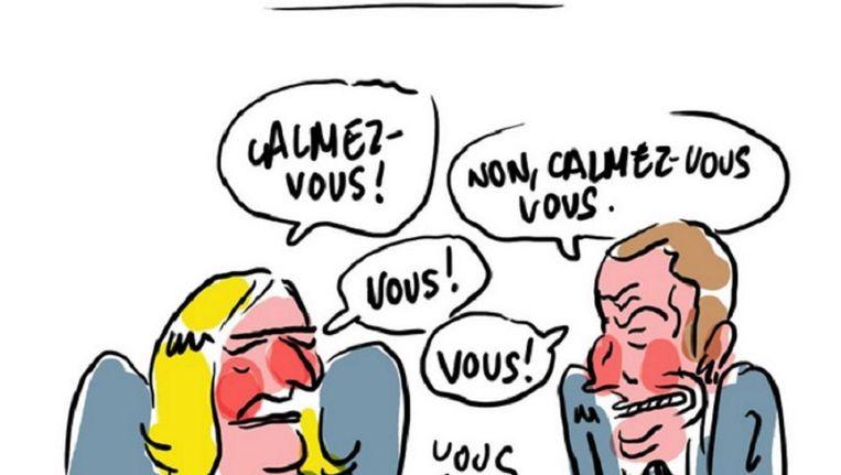 Spotprent Libération: Het debat samengevat: Kalm aan! Nee, u kalm aan!U! U! U! Beeld Libération
