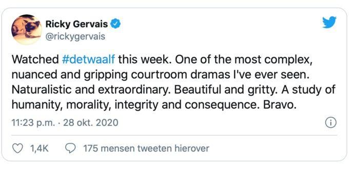 Ricky Gervais fan van 'De Twaalf'