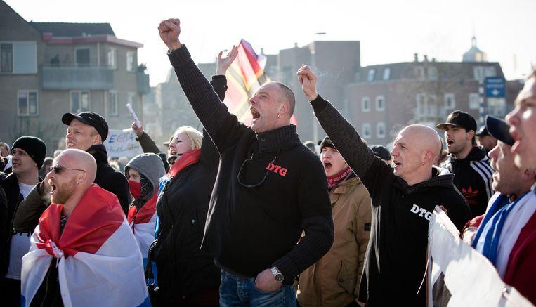Een betoging van Demonstranten Tegen Gemeenten (DTG) in februari waarbij de vijf verdachten volgens het OM ook aanwezig waren. Beeld Freek van den Bergh
