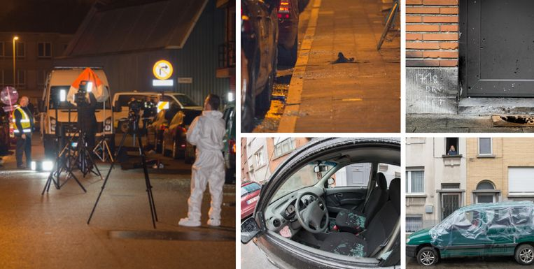 Het resultaat van de dubbelexplosie: 15 wagens beschadigd, gaten in deuren en muren, glas overal.