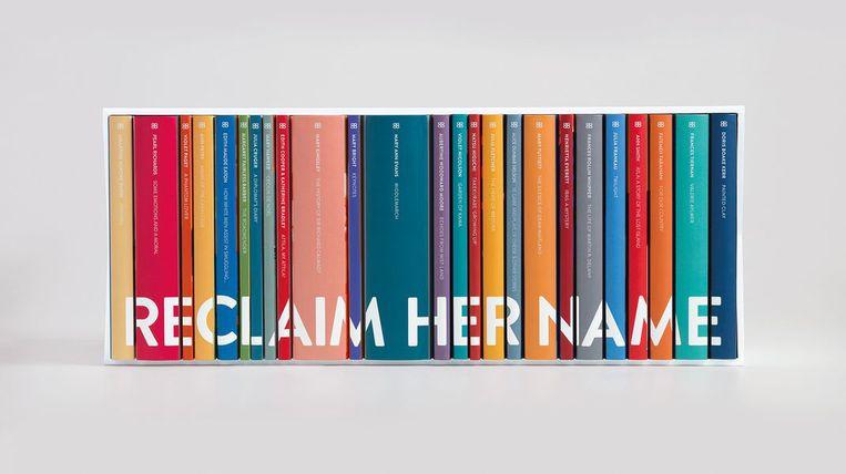 Reclaim her Name: cassette met alle 25 heruitgaven uit 1832-1939,  alleen bestemd voor bibliotheken. Beeld