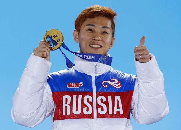 Viktor An, volgens velen de beste shorttracker aller tijden, mag ook niet naar Zuid-Korea. Beeld AP