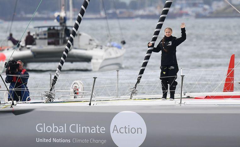 Greta Thunberg bij het verlaten van de haven van Plymouth