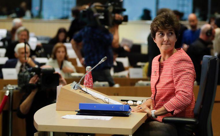 De Franse kandidaat Sylvie Goulard (Interne Markt, Defensie) krijgt een herexamen, als ze niet daarvoor al vervangen wordt door Parijs. Beeld EPA