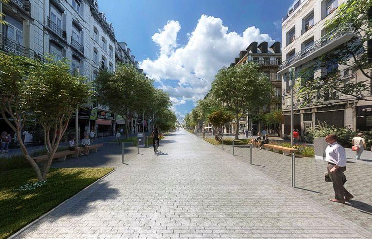 Vorderingen voetgangerszone: 3D beeld van Anspachlaan.