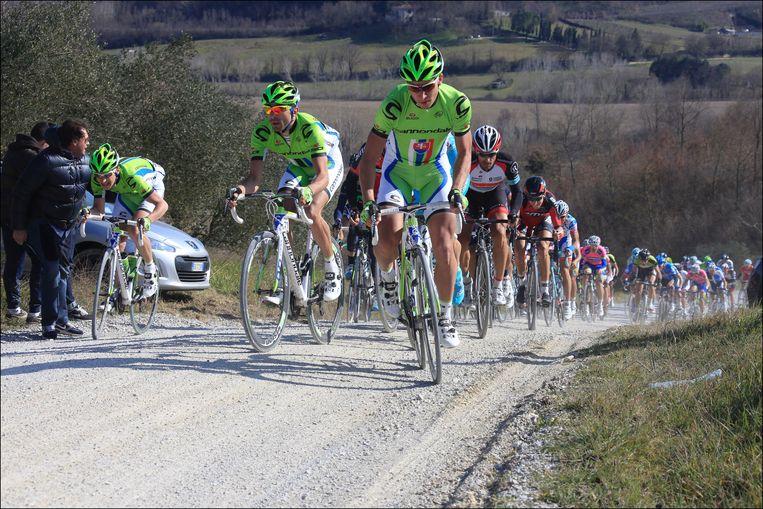 In 2013 won Moreno Moser (midden) nog de Strade Bianche, toen als ploegmaat van Peter Sagan (rechts).
