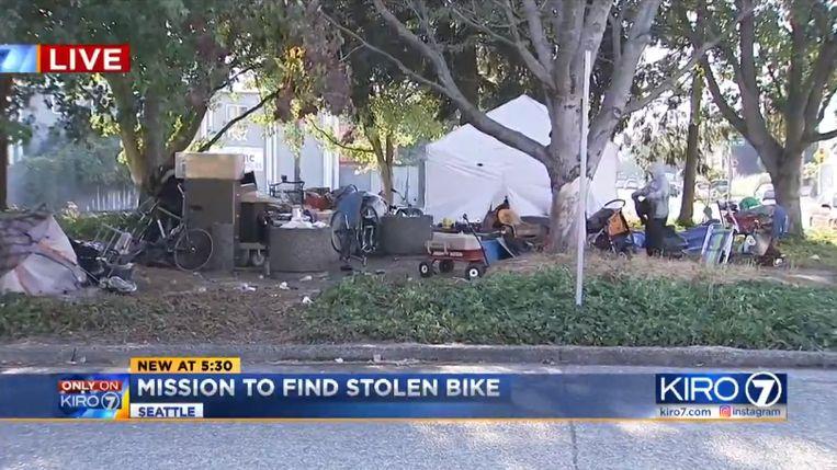 Het tentenkamp van daklozen waar Shannon haar fiets terugkreeg.