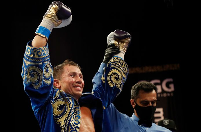 Gennadiy Golovkin viert het verslaan van Kamil Szeremeta in hun IBF middengewicht titelgevecht in het Seminole Hard Rock Hotel & Casino op 18 december 2020 in Hollywood, Florida.