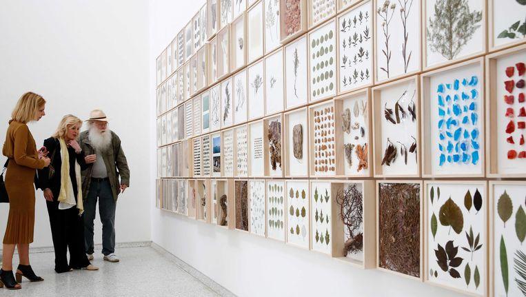 Birgit Donker, directeur van het Mondriaan Fonds, minister Jet Bussemaker van Onderwijs, Cultuur en Wetenschap en kunstenaar Herman de Vries in het Nederlandse Paviljoen tijdens de opening van de Biënnale Venetië. Beeld anp