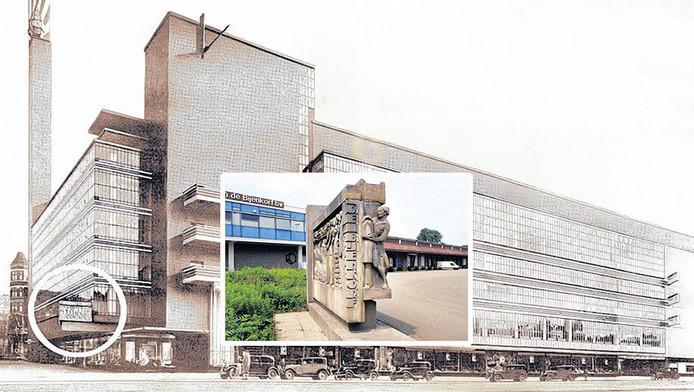 De oude Bijenkorf in Rotterdam. De gevelsteen is omcirkeld. Inzetje: Reliëf van de oude Rotterdamse Bijenkorf bij het Bijenkorfmagazijn in Woerden