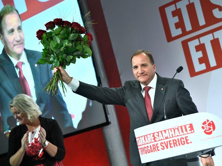 De Zweedse premier Stefan Löfven hoopt ondanks licht verlies opnieuw premier te kunnen worden.