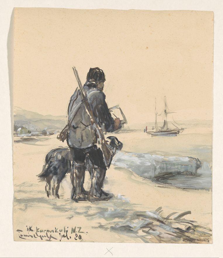 Louis Apol, De schilder, staande te tekenen, vergezeld van de scheepshond, en een geweer over de schouder (1880) Schenking van mevrouw H. Apol en mevrouw J. Benedictus-Apol, Velp Beeld Rijksmuseum Amsterdam