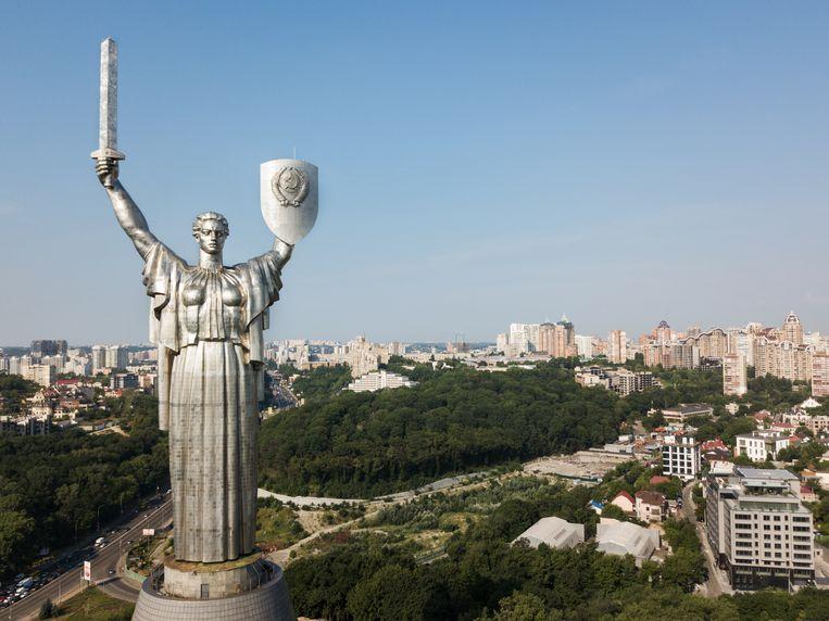 'Moeder van het moederland', monumentaal standbeeld in Kiev, Oekraïne. Beeld null