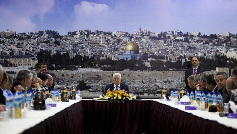 De Palestijnse president Mahmoud Abbas, dinsdag in Ramallah Beeld ap