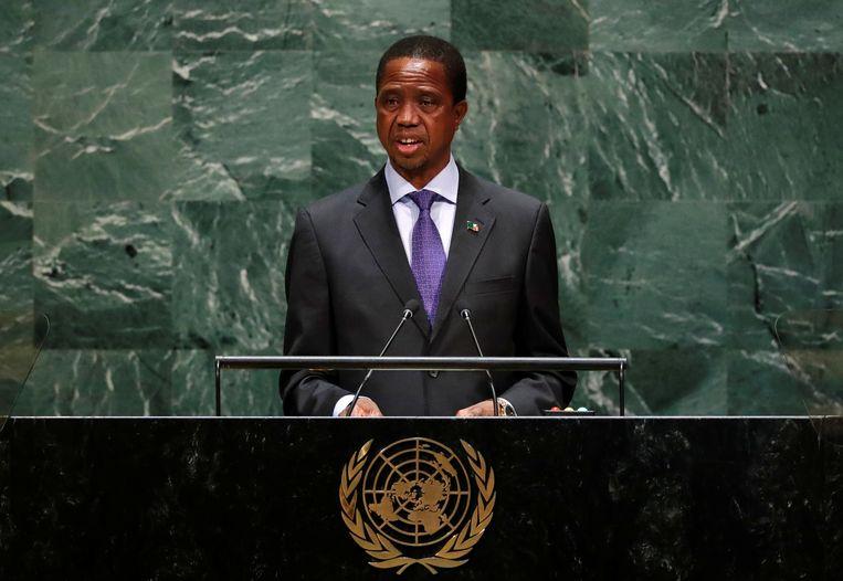De Zambiaanse president Edgar Lungu. Beeld REUTERS