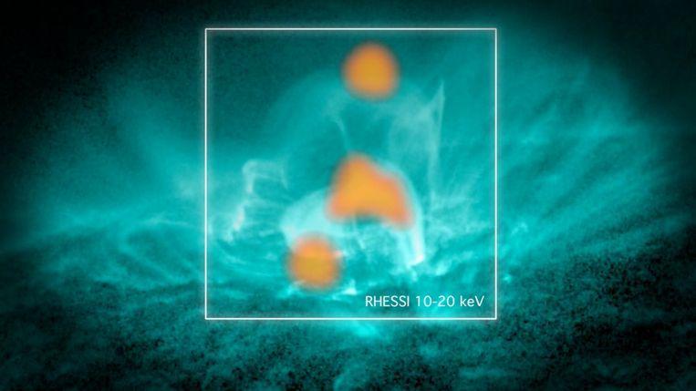 In deze foto is een combinatie te zien van data van de Solar Dynamics Observatory en de Reuven Ramaty High Energy Solar Spectroscopic Imager (de oranje vlekken) te zien. In het aquablauw zijn de magnetische veldlijnen te zien. Beeld NASA