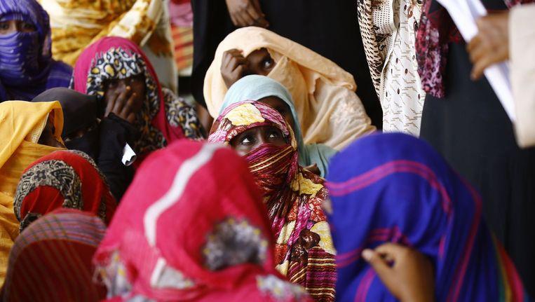 Eritrese vluchtelingen in een opvangkamp in het oosten van Soedan. Beeld afp