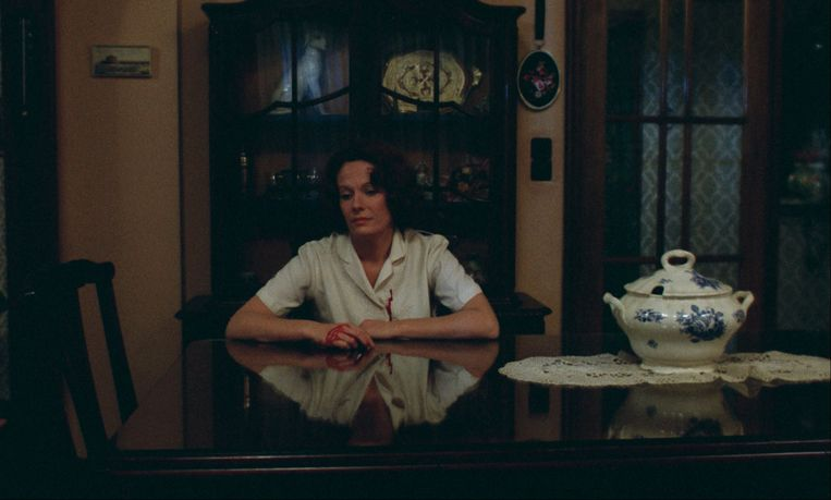 Woman Sitting after Killing (2001): wat zien we nog meer, behalve een vrouw met bebloede handen?  Beeld Chantal Akerman/Eye