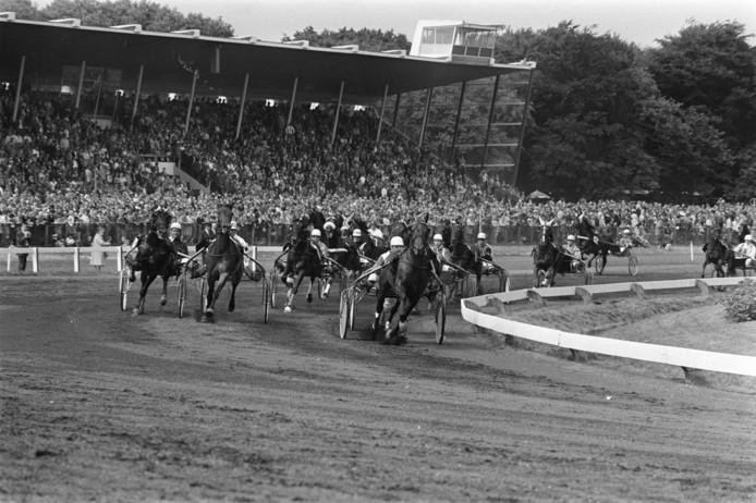 Volgepakte tribunes op Duindigt in 1970.