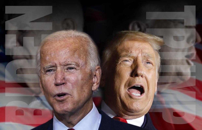Joe Biden en Donald Trump Beeld AFP/Reuters/Getty (montage AD)